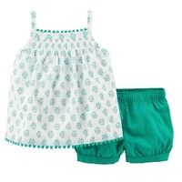 Carter's Flower Smocked Tank Top & Bubble Shorts Set - Baby Girl, Size: