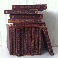 vintage red leather bound - Shakespeare collection - 15 books