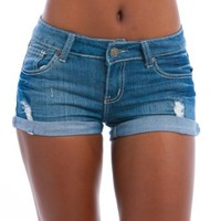 MOD 20 Women's Embroidered Pocket Cuff Denim Shorts