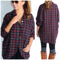 Thinking Out Lounge Grey Plaid High Low Flannel Top