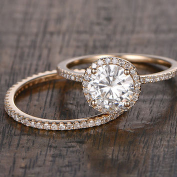 2 Moissanite Bridal ring Set,Engagement ring Rose gold,Diamond Full Eternity wedding band,14k,6.5mm Round Cut,Gemstone Promise Ring,stacking