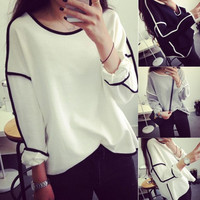 Women Geometric Long Sleeve Crew Neck Sweater Loose Pullover Outwear Tops  F_F (Color: White) = 1904727428