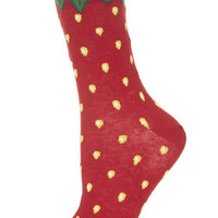 Strawberry Ankle Socks - Red