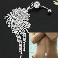 New Trendy Stainless Steel Rhinestone Belly Tassel Chain Dangle Navel Belly Button Ring Bar Crystal Peach Feather Piercing