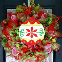 Deluxe Whimsical Christmas Wreath, Christmas Decoration, Ready to Ship