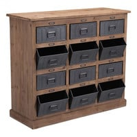 Haricot Cabinet Natural Pine & Industrial Gray