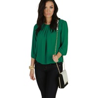 Green Faux Button Back Top