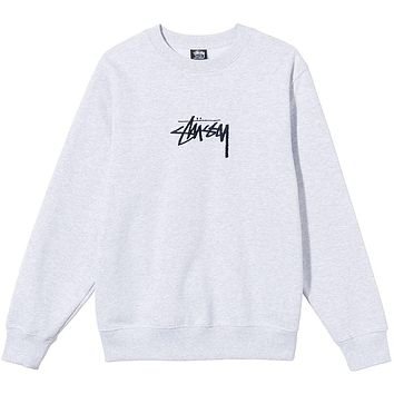SP21 Stock Embroidered Crew Ash Heather