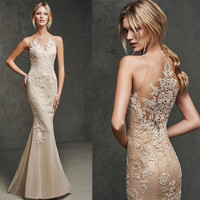 2017 Elegant Beige Lace Mermaid Prom Dresses Sheer Back Appliques Cheap Evening Dress Long Formal Party Gowns Robe de Soiree-in Evening Dresses from Weddings & Events on Aliexpress.com   Alibaba Group