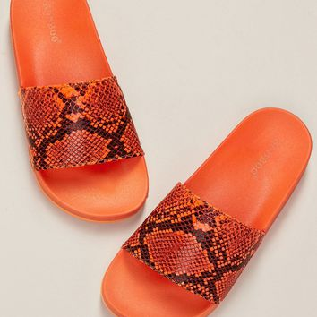 Neon Snakeskin Wide Band Chunky Sole Slide Sandals