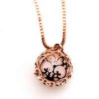 Essential Oil Diffuser Aromatherapy Necklace Gold Tone - Small Round