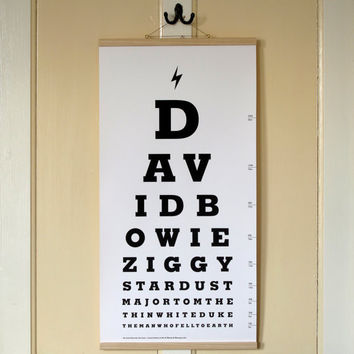 The David Bowie Eye Test Chart. Limited Edition Canvas Print Artwork.