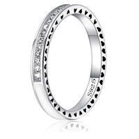 925 Sterling Silver Ring with Full Love Drops of oil Crystal Fit Women Wedding Pandora Ring Jewelry -03328