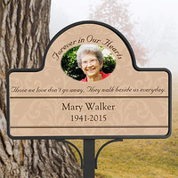 Personalized Memorial Garden Stake - Forever In Our Hearts - Sympathy Gifts