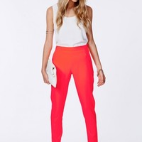 Missguided - Suellen Neon Coral Tailored Trousers