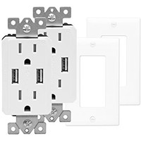 TOPGREENER TU2152A-W-2PCS Wall Outlet with USB, Dual USB Charger Outlet, USB Receptacle, USB Wall Outlet, 15A Tamper-Resistant Duplex Receptacle, Wall Plates Included, White (Pack of 2)