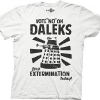 Dr Who Vote No on Daleks Mens Tee, Heather Red, (Small)