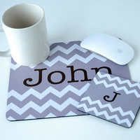 Unisex Geometric Neutral Chevron Monogram Mousepad + Coaster Office Desk Set, Mouse pad, Gift for Her, for Him, Gray, Grey