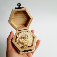 Engagement ring box,  rustic style cotton lace shabby chic brown cream lace sola flower birch bark heart small box