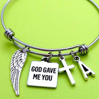 Personalized, Letter, Initial, God gave me you, Wing, Cross, Bangle, bracelet, Religious, Thank you, Christian, Blessing, Gift, Jewelry
