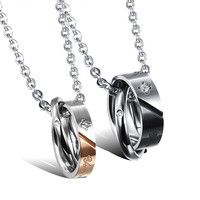 Jewelry Stylish New Arrival Shiny Gift Titanium Accessory Couple Necklace With Christmas Gift Box [9509253828]