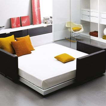 Convertible bed with upholstered headboard FLIPPER by EmmeBi   design Pietro Arosio