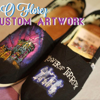 Twilight Zone Tower of Terror Custom Painted Shoes Disneyland Disney World Artwork and shoes included
