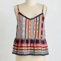 Boho Mid-length Spaghetti Straps Trim Pickings Top