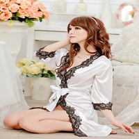 NEW Lace Sexy Satin Lingerie Chiffon Sleepwear Nightdress Robes G-string Gown 02