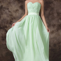 Light Green Off Shoulder Lace Up Back Chiffon Evening Dress