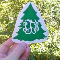 Christmas tree decals, Party cup stickers, Tree monogram, Name Stickers, Vinyl Decals