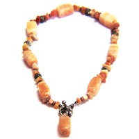 Yellow Calcite Natural Stone Tribal Necklace