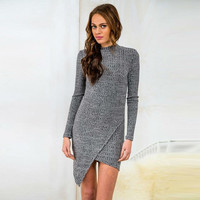 2016 new women wear long-sleeved knit dress