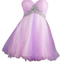 VILAVI Women's A-line Short Tulle Crystal Homecoming Dresses 2 Pink