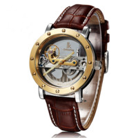 Men's Luxury Skeleton Wrist Watch in Golden With Leather Band