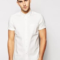 ASOS | ASOS Shirt In Short Sleeve With Viscose Linen Mix at ASOS