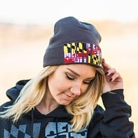 Maryland Flag Embroidered (Grey) / Knit Beanie Cap