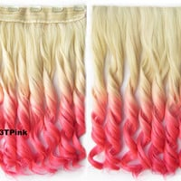"Dip dye hairpieces New Fashion 24"" Women Clip in on gradient wig Bath & Beauty Hair Ombre Hair Extensions Two Tone Curly Hair Gradient Hair Extension Colorful Hairpieces GS-888 613TPink,1PCS"
