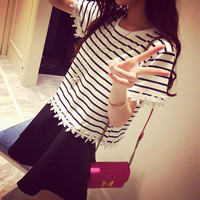 Stripe T Shirt with Lace and Hook