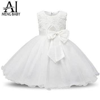 Ai Meng Baby Flower Princess Girl Dress Wedding First Birthday Newborn Baby Baptism Clothes Toddler Kids Party Dresses For Girls