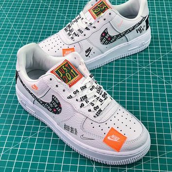 Nike Air Force 1 AF1 Low Custom Just Do It 905345-500 SL YS White Black Graffiti Sport Shoes - Best Online Sale