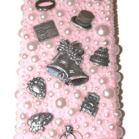 Pearl Bling iphone Case , Pink Wedding iPhone Covers, 3D Cell phone covers, Pearl  iphone 5 case, Bling iPhone 5 case