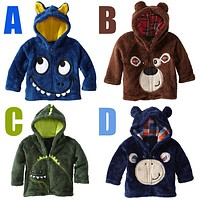 2017 Children's Jackets & Coats autumn winter warm animal style Fashion jackets coats coral fleece embroidery hoody outerwear