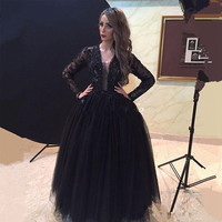 Black Long Sleeve Lace Prom Dresses Ball Gown Fast Shipping Sequin Tulle Evening Dresses for Graduation vestidos de gala