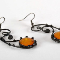Beautiful handmade designer original stylish unique long stained glass earrings
