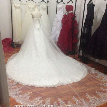 Luxury Cathedra Train Wedding Dress with Fully Beaded Bodice and Removable Extra Long Cloak