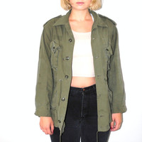 80s military field jacket vintage army surplus green unisex cargo drawstring jacket small