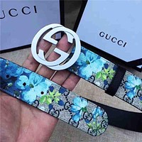 Gucci Print Floral Belt Flower Belt Women Men Belt A-GFPDPF Blue Floral