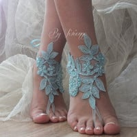 Blue Barefoot Sandals, pearl lace sandals, Nude shoes, Gothic, something blue ,Wedding, Victorian Lace, Sexy, Yoga, Anklet , Belly Dance