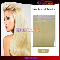 #60 Blonde Human Hair Straight Tape in hair extensions